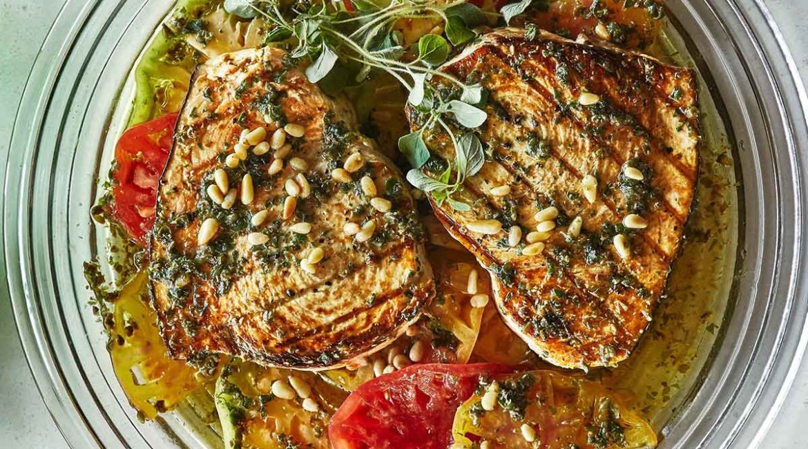 Grilled Swordfish with Tomatoes and Oregano