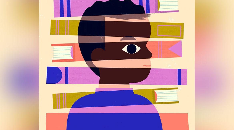 illustration of a black child against books