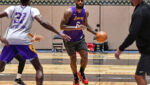 Los Angeles Lakers forward LeBron James dribbles the ball during practice as part of the NBA restart on July 28 in Orlando, Florida.