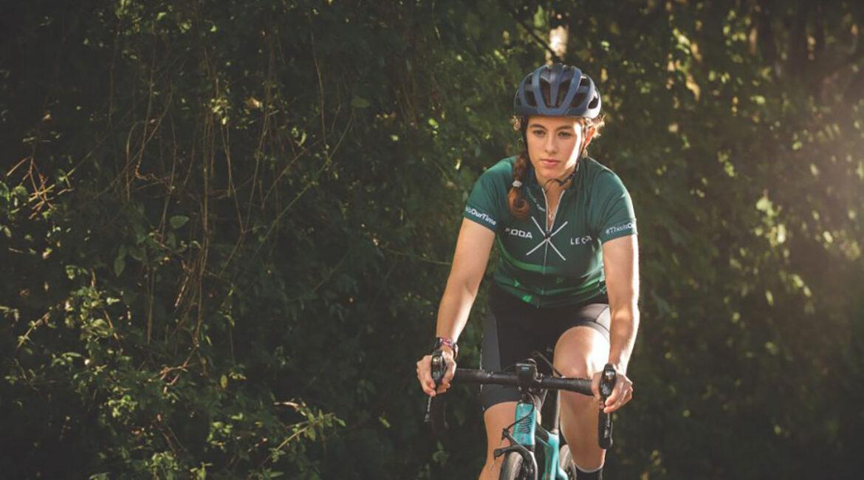 a woman cycling