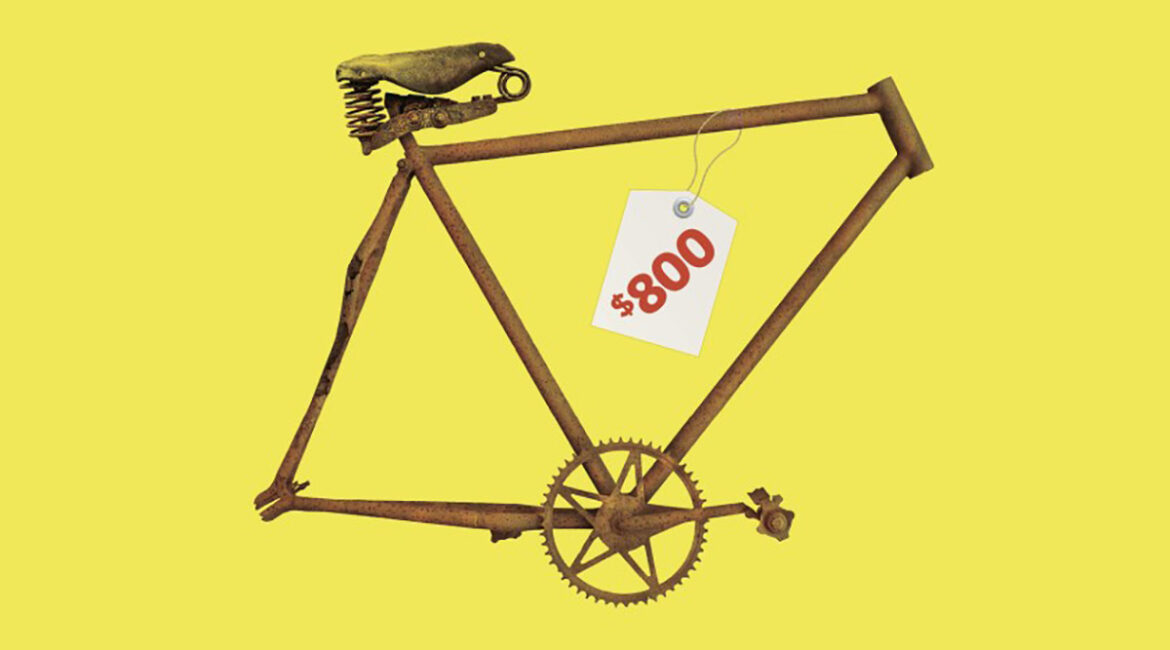 An old bike frame with a price tag of $800